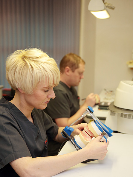 Dental prosthetic work at C & J Dental Technologists in Bolton